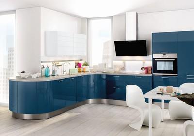 Häcker Küchen, Modell Laser Brilliant, Atlantikblau/Polarweiss hochglänzend, Küche 2016